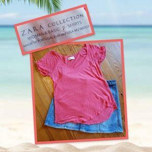 Zara 100% linen Basic T-shirt